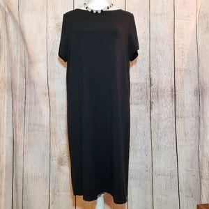 J.JILL wearever black knit, short sleeved dress, L